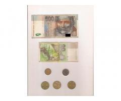 Szlovák korona 500, 20, 10, 2, 1 - 553 SKK